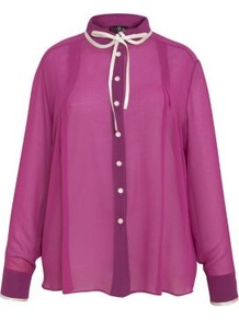 Pink Contrast Tie Shirt - pattern: plain; style: shirt; neckline: pussy bow; sleeve style: balloon; secondary colour: white; predominant colour: magenta; occasions: evening; length: standard; fibres: polyester/polyamide - 100%; fit: loose; sleeve length: long sleeve; texture group: sheer fabrics/chiffon/organza etc.; pattern type: fabric