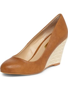Tan Espadrille Wedges - predominant colour: tan; occasions: evening, work, holiday; material: faux leather; heel height: high; heel: wedge; toe: round toe; style: courts; finish: plain; pattern: plain