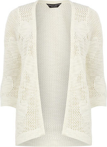 Ivory Open Stitch Heart Cardigan - neckline: collarless open; style: open front; predominant colour: ivory; occasions: casual, work; length: standard; fibres: acrylic - mix; fit: standard fit; back detail: longer hem at back than at front; sleeve length: 3/4 length; sleeve style: standard; texture group: knits/crochet; pattern type: knitted - big stitch; pattern size: small &amp; light; pattern: patterned/print
