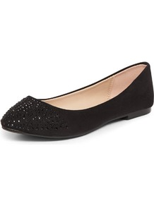 Black Diamante Point Pumps - predominant colour: black; occasions: casual, work; material: fabric; heel height: flat; embellishment: crystals; toe: pointed toe; style: ballerinas / pumps; finish: plain; pattern: plain