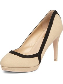 Luxe Cream Colourblock Courts - predominant colour: ivory; secondary colour: black; occasions: evening, work, occasion; material: fabric; heel height: high; heel: stiletto; toe: round toe; style: courts; finish: plain; pattern: colourblock