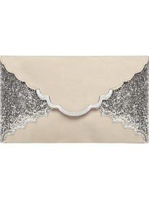 Grey Glitter Scallop Clutch - predominant colour: stone; secondary colour: silver; occasions: evening, occasion; type of pattern: standard; style: clutch; length: hand carry; size: standard; material: faux leather; embellishment: glitter; finish: plain; pattern: colourblock