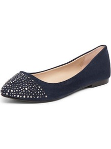 Navy Diamante Point Pumps - predominant colour: navy; occasions: casual, holiday; material: fabric; heel height: flat; embellishment: crystals; toe: pointed toe; style: ballerinas / pumps; finish: plain; pattern: plain