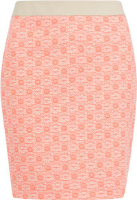 Pink And Cream Jacquard Skirt - style: pencil; fit: tight; waist detail: embellishment at waist/feature waistband; waist: mid/regular rise; secondary colour: ivory; predominant colour: pink; occasions: casual, evening, occasion; length: just above the knee; fibres: cotton - mix; pattern type: fabric; pattern size: small &amp; busy; pattern: patterned/print; texture group: brocade/jacquard