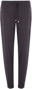 Blue Tile Print Jogger - length: standard; style: tracksuit pants; waist detail: belted waist/tie at waist/drawstring; waist: mid/regular rise; secondary colour: royal blue; predominant colour: charcoal; occasions: casual; fibres: viscose/rayon - 100%; texture group: silky - light; fit: slim leg; pattern type: fabric; pattern size: small &amp; busy; pattern: patterned/print