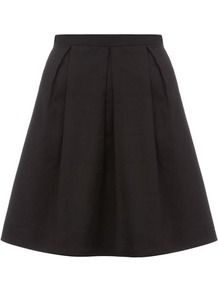 Black Prom Skirt - length: mid thigh; pattern: plain; style: full/prom skirt; fit: loose/voluminous; waist: high rise; predominant colour: black; occasions: evening, work, occasion; fibres: cotton - stretch; hip detail: sculpting darts/pleats/seams at hip; texture group: cotton feel fabrics; pattern type: fabric