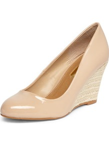 Nude Espadrille Wedges - predominant colour: nude; occasions: evening, work, occasion; material: faux leather; heel height: high; heel: wedge; toe: round toe; style: courts; finish: patent; pattern: plain