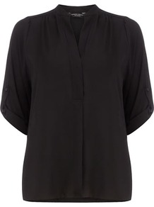 Black Roll Sleeve Shirt - pattern: plain; style: shirt; predominant colour: black; occasions: casual, evening, work; length: standard; neckline: mandarin with v-neck; fibres: polyester/polyamide - 100%; fit: body skimming; shoulder detail: flat/draping pleats/ruching/gathering at shoulder; sleeve length: half sleeve; sleeve style: standard; texture group: sheer fabrics/chiffon/organza etc.; pattern type: fabric