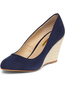Navy Espadrille Wedges - predominant colour: navy; occasions: casual, work; material: fabric; heel height: mid; heel: wedge; toe: round toe; style: courts; finish: plain; pattern: plain