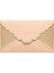 Blush Glitter Scallop Clutch - predominant colour: nude; secondary colour: gold; occasions: evening, occasion; type of pattern: standard; style: clutch; length: handle; size: small; material: faux leather; embellishment: glitter; pattern: plain; finish: plain