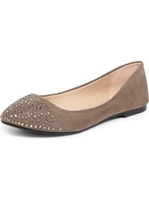 Grey Diamante Point Pumps - secondary colour: stone; predominant colour: mid grey; occasions: casual, holiday; material: fabric; heel height: flat; embellishment: crystals; toe: pointed toe; style: ballerinas / pumps; finish: plain; pattern: plain