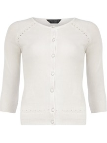 White Pointelle Cardigan - neckline: round neck; pattern: plain; predominant colour: white; occasions: casual, work; length: standard; style: standard; fibres: cotton - mix; fit: slim fit; sleeve length: 3/4 length; sleeve style: standard; texture group: knits/crochet; pattern type: knitted - fine stitch
