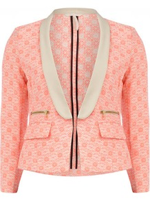 Pink And Cream Neon Blazer - style: single breasted tuxedo; collar: shawl/waterfall; secondary colour: ivory; predominant colour: pink; occasions: casual, evening, work, occasion; length: standard; fit: tailored/fitted; fibres: cotton - mix; waist detail: fitted waist; sleeve length: 3/4 length; sleeve style: standard; trends: fluorescent; collar break: low/open; pattern type: knitted - other; pattern size: small &amp; busy; pattern: patterned/print; texture group: brocade/jacquard