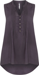 Grey Beaded Top - pattern: plain; sleeve style: sleeveless; length: below the bottom; style: shirt; bust detail: buttons at bust (in middle at breastbone)/zip detail at bust; predominant colour: charcoal; occasions: casual, evening; neckline: mandarin with v-neck; fibres: viscose/rayon - 100%; fit: loose; back detail: longer hem at back than at front; sleeve length: sleeveless; texture group: silky - light; pattern type: fabric; embellishment: beading