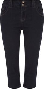 Indigo Cropped Jeans - pattern: plain; pocket detail: traditional 5 pocket; style: slim leg; waist: mid/regular rise; predominant colour: navy; occasions: casual, holiday; length: calf length; fibres: cotton - stretch; jeans detail: dark wash; texture group: denim; pattern type: fabric; pattern size: standard