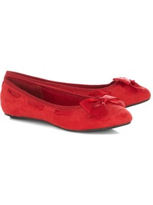 Red Round Toe Ribbon Ballerina Pumps - predominant colour: true red; occasions: casual, work; material: suede; heel height: flat; embellishment: ribbon; toe: round toe; style: ballerinas / pumps; finish: plain; pattern: plain