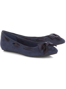 Navy Ribbon Bow Ballerina Pumps - predominant colour: navy; occasions: casual, evening, work; material: suede; heel height: flat; embellishment: ribbon; toe: round toe; style: ballerinas / pumps; finish: plain; pattern: plain