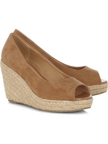 Tan Espadrille Wedges - predominant colour: camel; occasions: casual, holiday; material: fabric; heel height: high; heel: wedge; toe: open toe/peeptoe; style: standard; finish: plain; pattern: plain