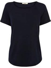 Raglan Textured T Shirt - neckline: round neck; pattern: plain; style: t-shirt; predominant colour: black; occasions: casual, work; length: standard; fibres: polyester/polyamide - 100%; fit: straight cut; sleeve length: short sleeve; sleeve style: standard; pattern type: fabric; pattern size: standard; texture group: jersey - stretchy/drapey