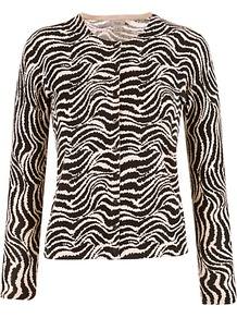Zebra Print Cardigan, Black - neckline: round neck; bust detail: buttons at bust (in middle at breastbone)/zip detail at bust; predominant colour: black; occasions: evening, work, occasion; length: standard; style: standard; fibres: cotton - 100%; fit: slim fit; sleeve length: long sleeve; sleeve style: standard; texture group: knits/crochet; trends: modern geometrics; pattern type: knitted - other; pattern size: big &amp; busy; pattern: animal print