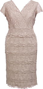 Lace Layer Dress - style: faux wrap/wrap; neckline: v-neck; sleeve style: capped; pattern: plain; predominant colour: blush; occasions: evening, occasion; length: just above the knee; fit: body skimming; fibres: polyester/polyamide - stretch; sleeve length: short sleeve; texture group: lace; pattern type: fabric; pattern size: standard