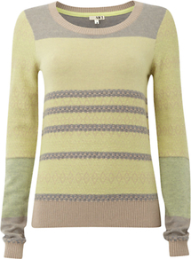 Nw3 Hobbs Fantasy Stitch Jumper - neckline: round neck; pattern: horizontal stripes; style: standard; predominant colour: lime; occasions: casual, work; length: standard; fibres: cotton - mix; fit: standard fit; sleeve length: long sleeve; sleeve style: standard; texture group: knits/crochet; pattern type: knitted - fine stitch; pattern size: small &amp; light