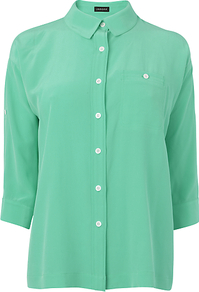 Roll Sleeve Blouse - neckline: shirt collar/peter pan/zip with opening; pattern: plain; style: shirt; predominant colour: emerald green; occasions: casual, work; length: standard; fibres: silk - 100%; fit: straight cut; sleeve length: 3/4 length; sleeve style: standard; texture group: crepes; pattern type: fabric