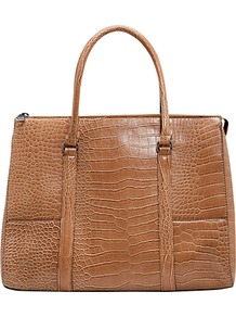 Croc Effect Tote Bag - predominant colour: tan; occasions: casual, evening, work; type of pattern: light; style: tote; length: handle; size: standard; material: faux leather; pattern: animal print; finish: plain