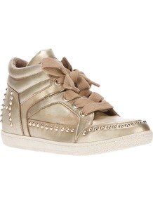 'Zest' Studded Trainer - predominant colour: gold; occasions: casual; material: leather; heel height: flat; embellishment: studs; toe: round toe; style: trainers; trends: metallics; finish: metallic; pattern: plain