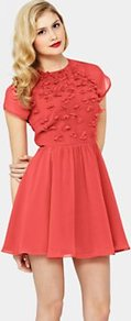 Penny Floral Embellished Dress, Red - length: mini; sleeve style: capped; bust detail: added detail/embellishment at bust; waist detail: fitted waist; predominant colour: coral; occasions: evening, occasion, holiday; fit: fitted at waist & bust; style: fit & flare; fibres: polyester/polyamide - mix; neckline: crew; hip detail: soft pleats at hip/draping at hip/flared at hip; shoulder detail: flat/draping pleats/ruching/gathering at shoulder; sleeve length: short sleeve; texture group: sheer fabrics/chiffon/organza etc.; trends: high impact florals, volume; pattern type: fabric; pattern size: standard; embellishment: beading