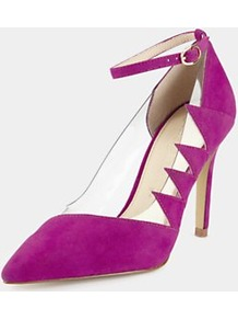 Perspex Point Court Shoes, Pink - predominant colour: hot pink; occasions: evening, occasion; material: suede; heel height: high; ankle detail: ankle strap; heel: stiletto; toe: pointed toe; style: courts; finish: plain; pattern: plain