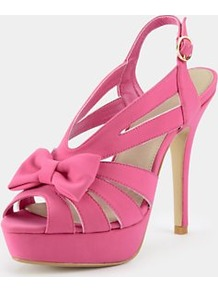 Fallon Platform Sandals, Pink - predominant colour: hot pink; occasions: evening, occasion; material: fabric; heel height: high; ankle detail: ankle strap; heel: platform; toe: open toe/peeptoe; style: strappy; finish: plain; pattern: plain; embellishment: bow