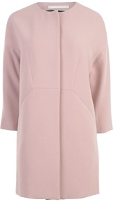 Crepe Cocoon Coat - pattern: plain; collar: round collar/collarless; length: mid thigh; predominant colour: blush; occasions: casual, occasion; fit: straight cut (boxy); style: cocoon; fibres: polyester/polyamide - mix; sleeve length: 3/4 length; sleeve style: standard; texture group: crepes; collar break: medium; pattern type: fabric