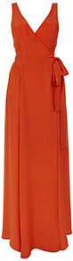 Loridan Maxi Dress - neckline: low v-neck; pattern: plain; sleeve style: sleeveless; style: maxi dress; back detail: low cut/open back; waist detail: belted waist/tie at waist/drawstring; predominant colour: bright orange; occasions: evening, occasion; length: floor length; fit: body skimming; fibres: silk - 100%; sleeve length: sleeveless; texture group: silky - light; pattern type: fabric; pattern size: standard