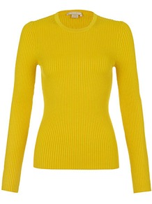 Fine Rib Sweater - pattern: plain; style: standard; predominant colour: yellow; occasions: casual, work; length: standard; fibres: silk - 100%; fit: slim fit; neckline: crew; sleeve length: long sleeve; sleeve style: standard; texture group: knits/crochet; trends: fluorescent; pattern type: knitted - other; pattern size: standard