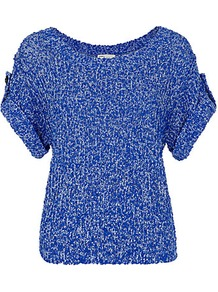 Hali Cropped Top - neckline: round neck; sleeve style: dolman/batwing; pattern: plain; predominant colour: royal blue; occasions: casual, work; length: standard; style: top; fibres: polyester/polyamide - 100%; fit: body skimming; sleeve length: short sleeve; texture group: knits/crochet; pattern type: knitted - other; pattern size: small & light