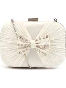 Cream Satin Bow Box Clutch - predominant colour: ivory; occasions: evening, occasion; type of pattern: standard; style: clutch; length: hand carry; size: small; material: satin; embellishment: crystals; pattern: plain; trends: metallics; finish: plain