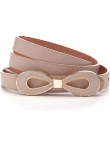 Stone Enamel Bow Skinny Waist Belt - predominant colour: stone; occasions: casual, work, occasion; type of pattern: standard; style: plaque; size: skinny; worn on: waist; material: faux leather; pattern: plain; finish: plain; embellishment: bow