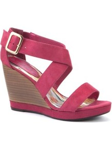 Wide Fit Pink Strap Wood Effect Wedges - predominant colour: hot pink; occasions: casual, evening, holiday; material: fabric; heel height: high; ankle detail: ankle strap; heel: wedge; toe: open toe/peeptoe; style: standard; finish: plain; pattern: plain