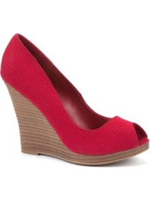 Red Peeptoe Canvas Wedges - predominant colour: true red; occasions: evening, holiday; material: fabric; heel: wedge; toe: open toe/peeptoe; style: courts; finish: plain; pattern: plain; heel height: very high