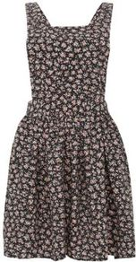 Black Floral Print Pinafore Dress - length: mid thigh; sleeve style: sleeveless; occasions: casual, evening; fit: fitted at waist &amp; bust; style: fit &amp; flare; fibres: polyester/polyamide - stretch; back detail: crossover; predominant colour: multicoloured; sleeve length: sleeveless; trends: high impact florals, statement prints; neckline: medium square neck; pattern type: fabric; pattern size: small &amp; busy; pattern: florals; texture group: other - light to midweight
