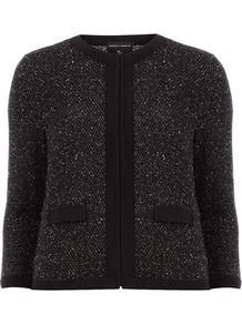 Dark Grey Boucle Jacket - collar: round collar/collarless; style: boxy; pattern: herringbone/tweed; secondary colour: white; predominant colour: black; occasions: casual, evening, work; length: standard; fit: straight cut (boxy); fibres: cotton - mix; sleeve length: 3/4 length; sleeve style: standard; collar break: high; pattern type: fabric; pattern size: big &amp; light; texture group: woven light midweight