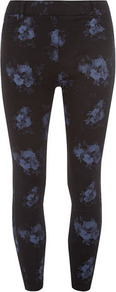 Blue Floral Eden Capri - style: capri; pocket detail: traditional 5 pocket; waist: mid/regular rise; secondary colour: indigo; predominant colour: black; occasions: casual; length: ankle length; fibres: cotton - stretch; texture group: lycra/elastane mixes; fit: skinny/tight leg; pattern type: fabric; pattern size: big &amp; light; pattern: florals