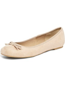 Nude Square Toe Ballet Shoes - predominant colour: nude; occasions: casual, work; material: fabric; heel height: flat; toe: round toe; style: ballerinas / pumps; finish: plain; pattern: plain