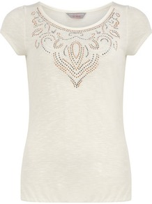 Petite Stud Necklace T Shirt - neckline: round neck; sleeve style: capped; pattern: plain; bust detail: added detail/embellishment at bust; style: t-shirt; predominant colour: white; occasions: casual; length: standard; fibres: viscose/rayon - 100%; fit: body skimming; sleeve length: short sleeve; pattern type: fabric; texture group: jersey - stretchy/drapey; embellishment: studs