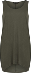 Khaki Longline Drape Tunic - neckline: round neck; sleeve style: standard vest straps/shoulder straps; pattern: plain; length: below the bottom; style: vest top; predominant colour: khaki; occasions: casual; fibres: cotton - 100%; fit: loose; back detail: longer hem at back than at front; sleeve length: sleeveless; pattern type: fabric; texture group: jersey - stretchy/drapey