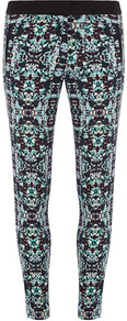 Aqua Geo Print Trouser - waist detail: elasticated waist; pocket detail: small back pockets, pockets at the sides; waist: mid/regular rise; secondary colour: turquoise; predominant colour: black; occasions: casual, evening, work, holiday; length: ankle length; fibres: cotton - stretch; hip detail: fitted at hip (bottoms); trends: modern geometrics; fit: skinny/tight leg; pattern type: fabric; pattern size: small &amp; busy; pattern: patterned/print; texture group: jersey - stretchy/drapey; style: standard