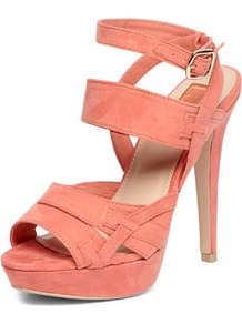Luxe Coral Multi Strap Sandals - predominant colour: coral; occasions: evening, occasion; material: faux leather; ankle detail: ankle strap; heel: platform; toe: open toe/peeptoe; style: strappy; finish: plain; pattern: plain; heel height: very high