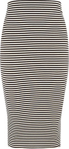 Striped Jersey Tube Skirt - pattern: striped; fit: tight; waist: mid/regular rise; predominant colour: black; occasions: casual; length: just above the knee; fibres: viscose/rayon - stretch; style: tube; texture group: jersey - clingy; pattern type: fabric; pattern size: standard