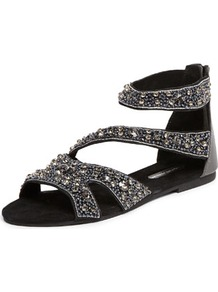 Black Embellished Sandals - predominant colour: black; occasions: casual, evening, holiday; material: leather; heel height: flat; embellishment: beading; ankle detail: ankle strap; heel: standard; toe: open toe/peeptoe; style: strappy; finish: plain; pattern: plain